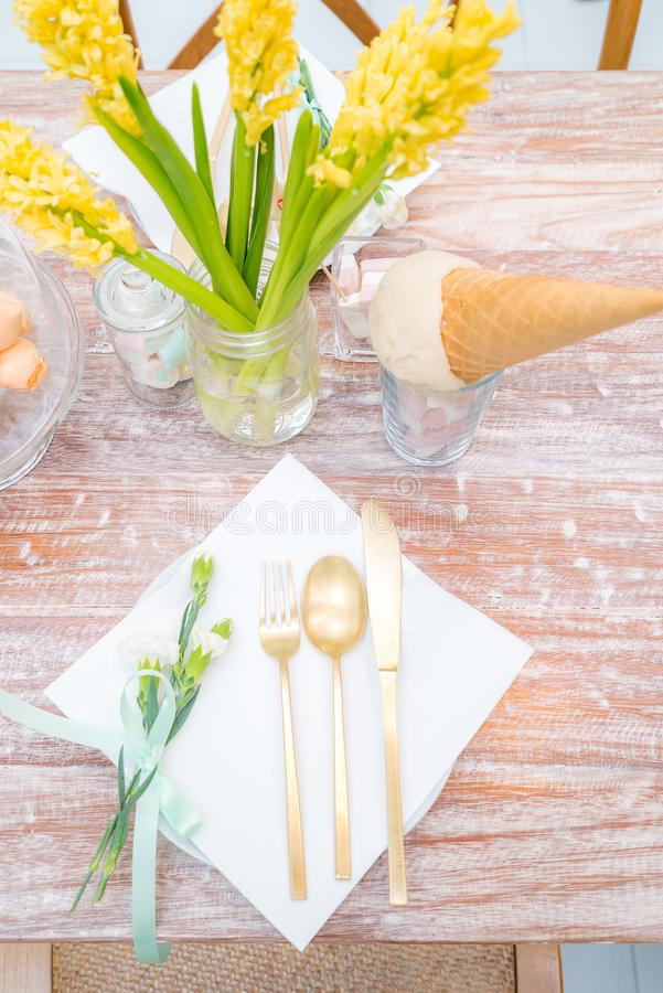 Party dining table stock photos
