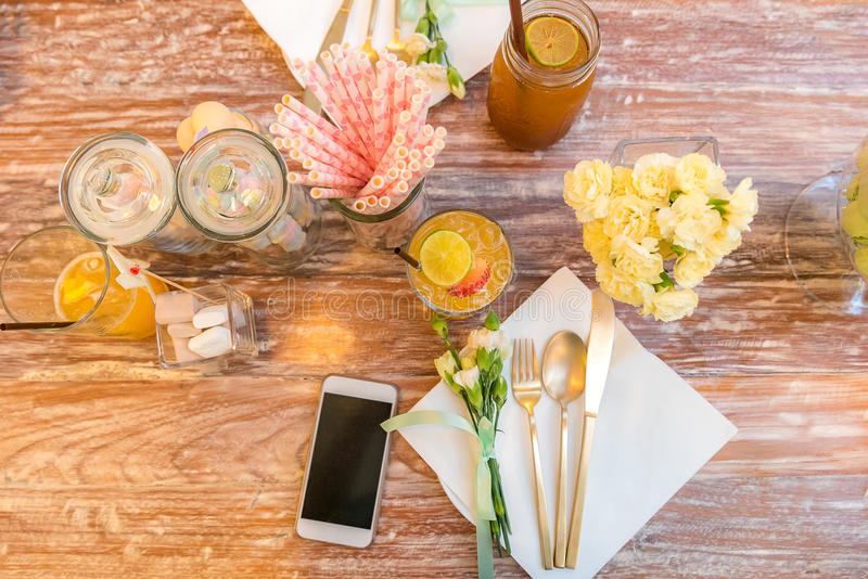 Party dining table stock photography