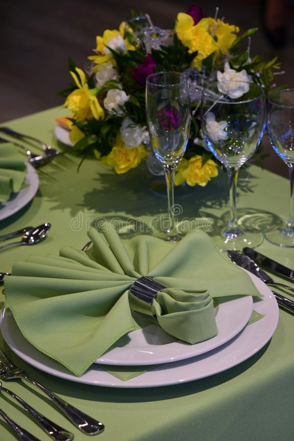 Party table restaurant setting royalty free stock image
