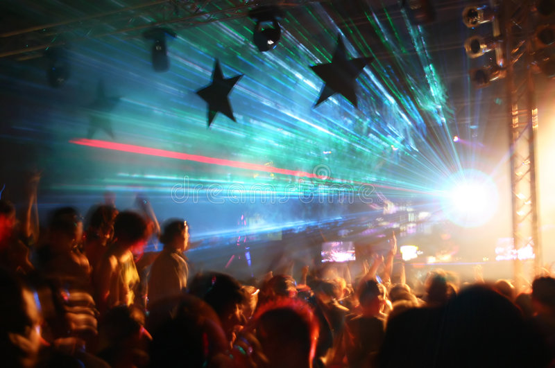Party at Disco. And laser show royalty free stock photo