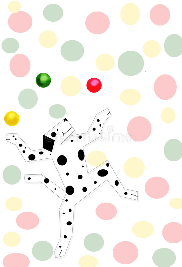 Party dog. Dancing, juggling dog with spots, colorful spotted background stock illustration