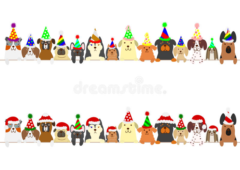 Party dogs border set. Cute dogs border set with Christmas hat and party hat royalty free illustration