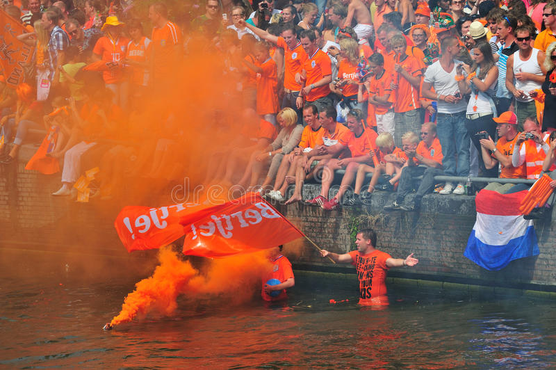 Party for Dutch football team. Party for the Dutch football team in Amsterdam in Holland stock image