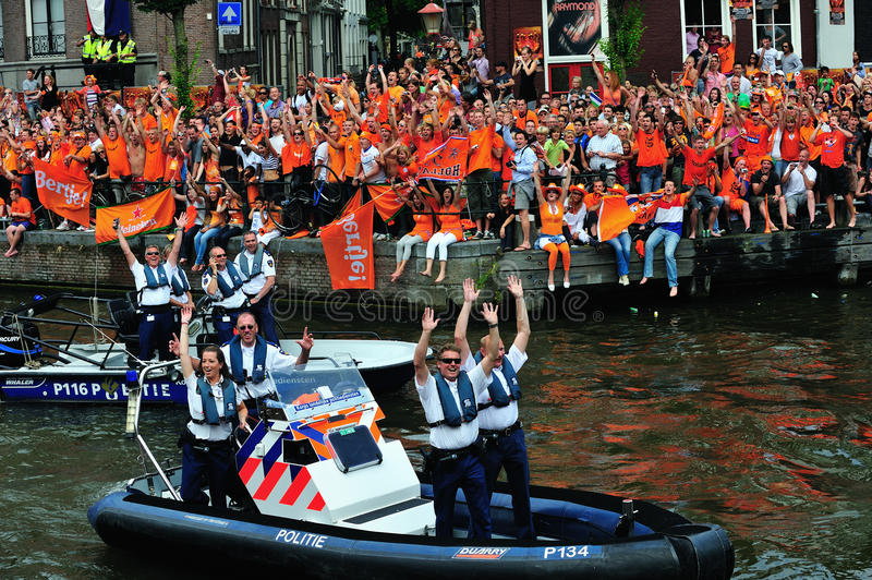 Party for Dutch football team. Party for the Dutch football team in Amsterdam in Holland stock photos