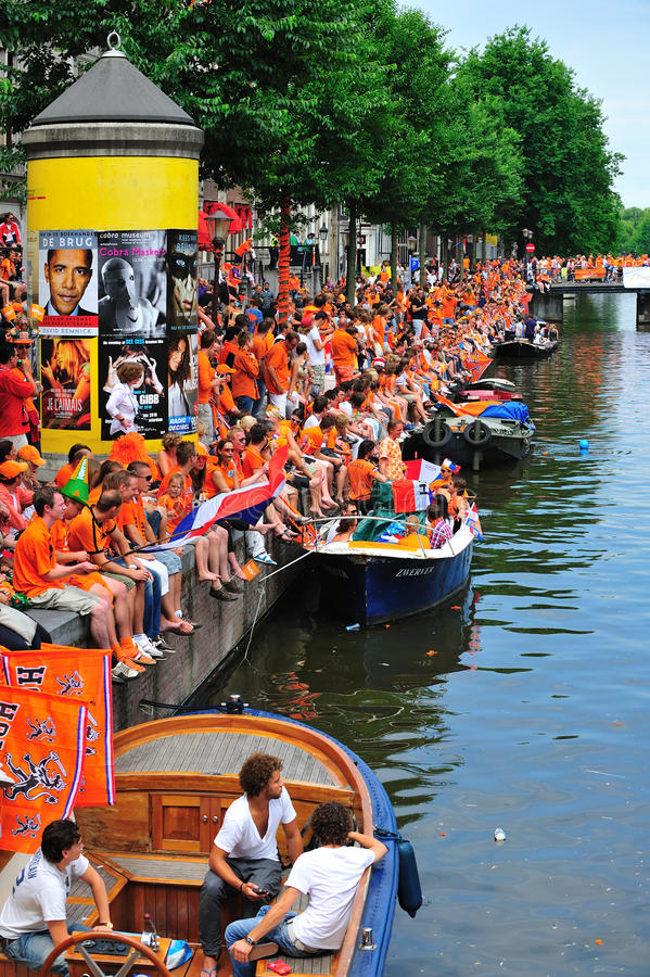 Party for Dutch football team. Party for the Dutch football team in Amsterdam in Holland royalty free stock photos