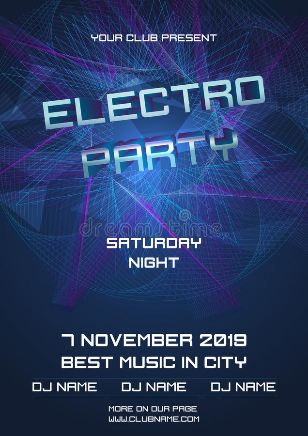 Party electro night colorful flyer template vector with abstract ball in blue and violet color.  stock illustration
