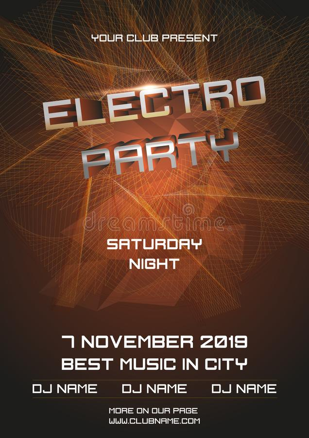 Party electro night colorful flyer template vector with abstract ball in gold color.  vector illustration
