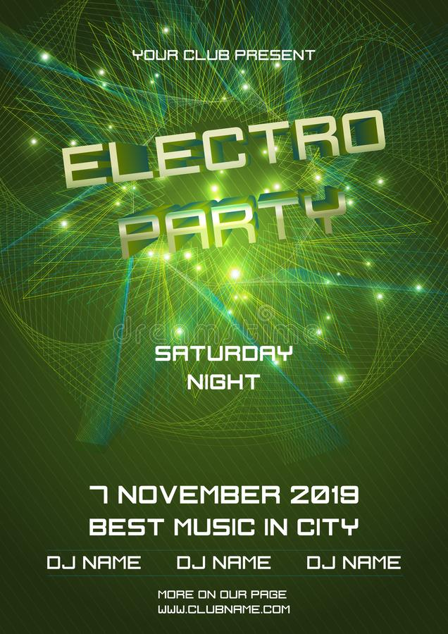 Party electro night colorful flyer template vector with abstract ball in green color.  royalty free stock images