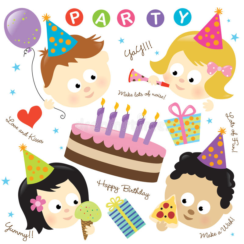Free Party Elements W/ Kids Royalty Free Stock Photos - 12727478