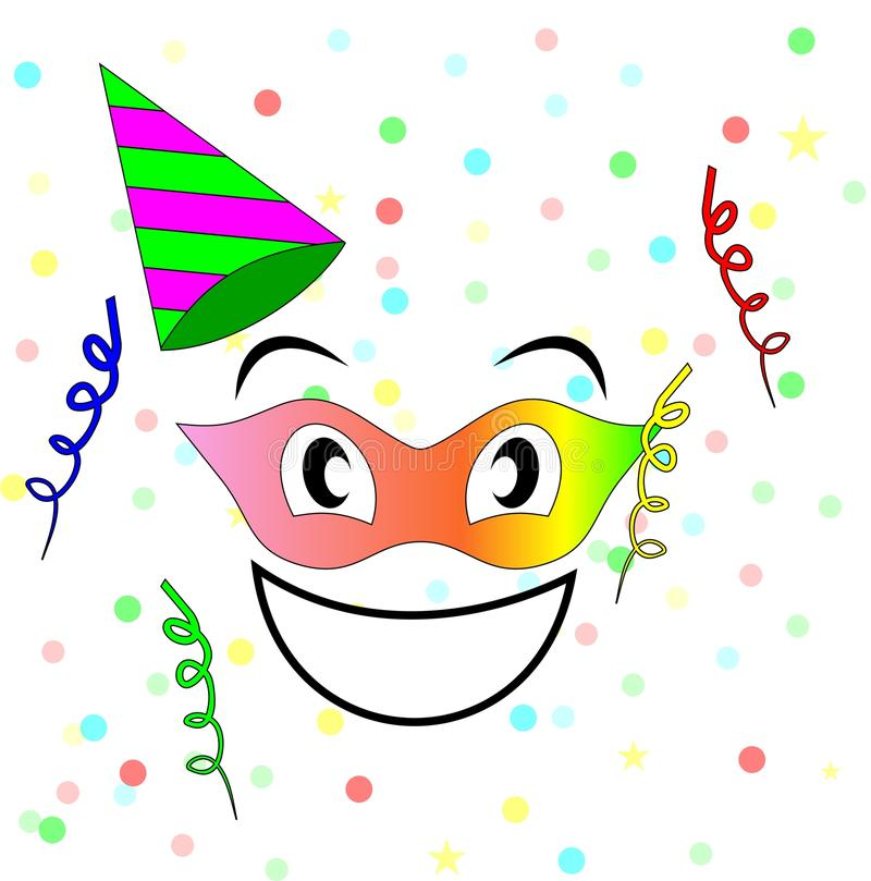 Party face. Smiley Face having a party royalty free illustration