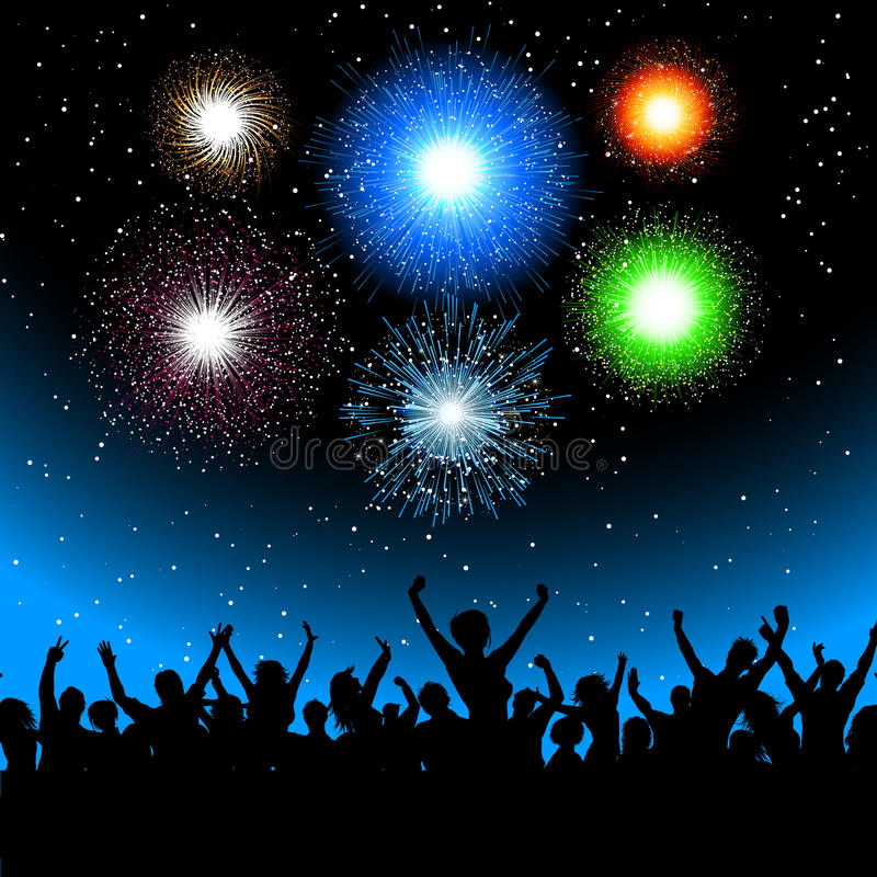 Party with fireworks stock photos