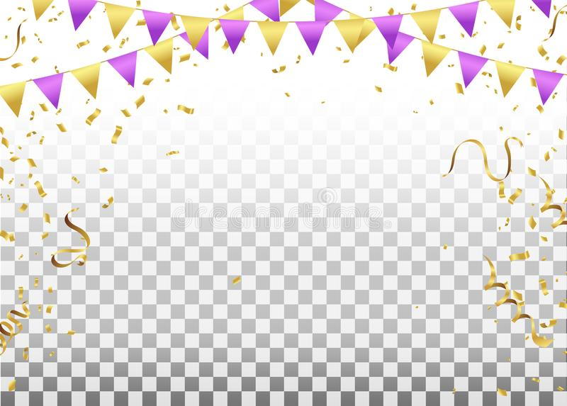 Party Flags With Confetti And Ribbons Falling On Transparent Background. Celebration Event & Birthday. Vector vector illustration