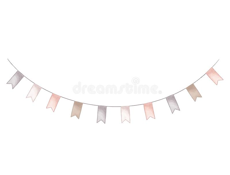 Party flags. Holiday string. Hand dravn illustration. Vintage festival decoration isolated on white background vector illustration
