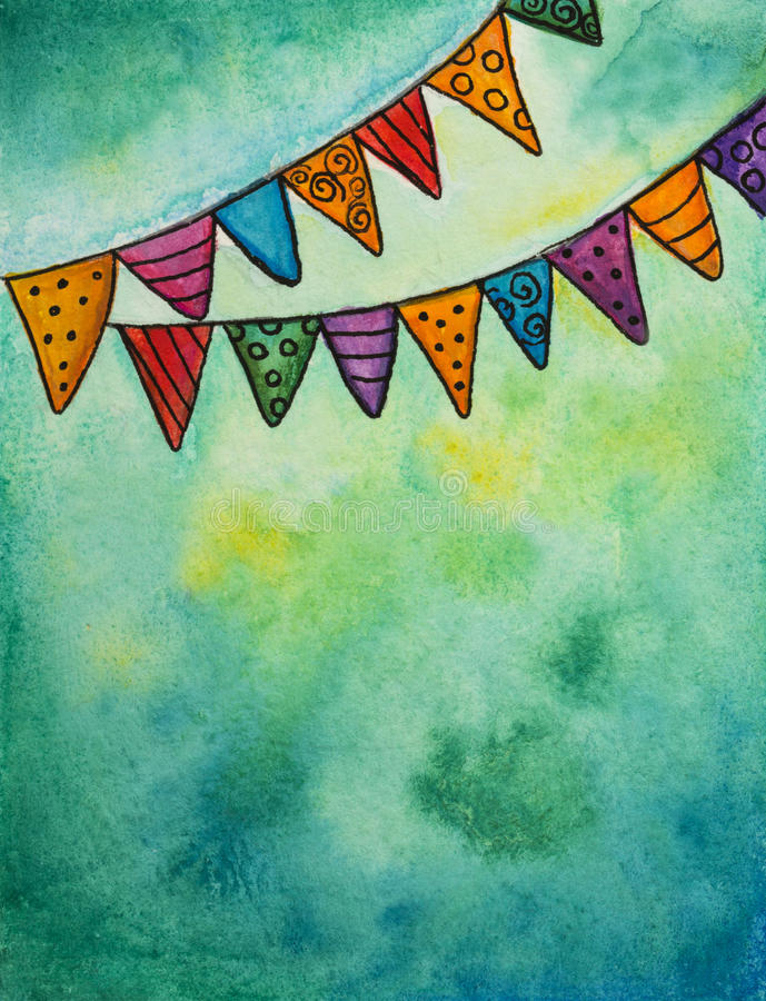 Party flags. Watercolor illustration of party flags royalty free illustration