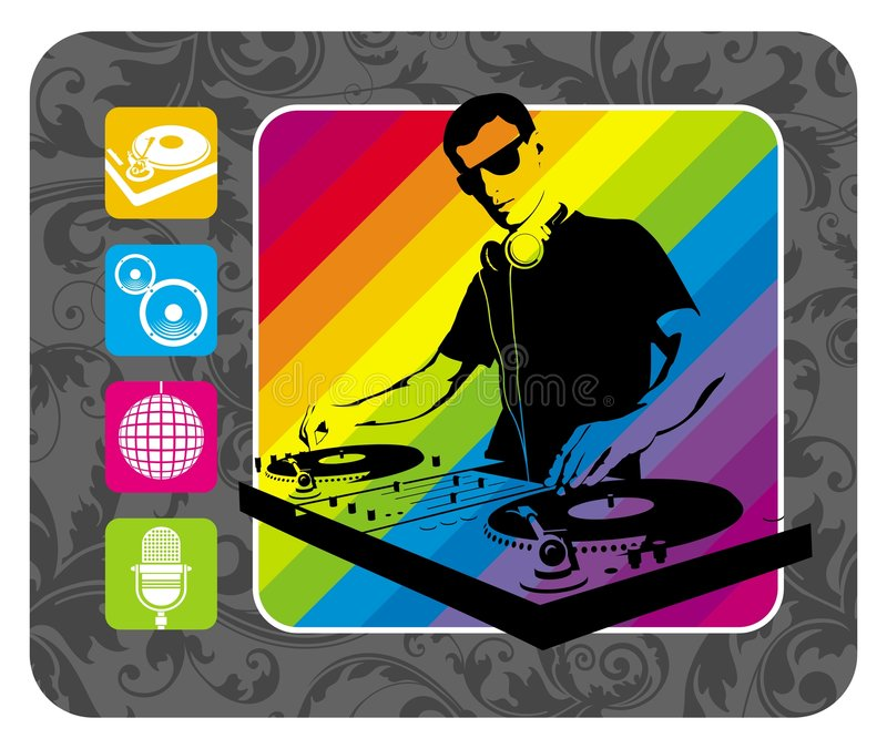 Party flayer. Vector illustration with dj and four icon stock illustration
