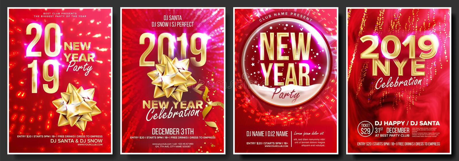 2019 Party Flyer Poster Set Vector. Night Club Celebration. Musical Concert Banner. Happy New Year. Celebration Template. Background. Christmas Disco Light royalty free illustration