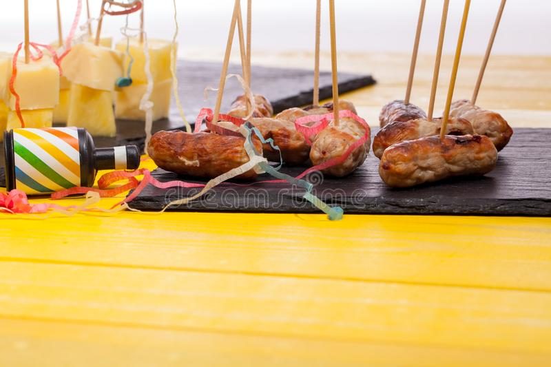 Party food leftovers. Nibbles left over from a Christmas party. royalty free stock photo