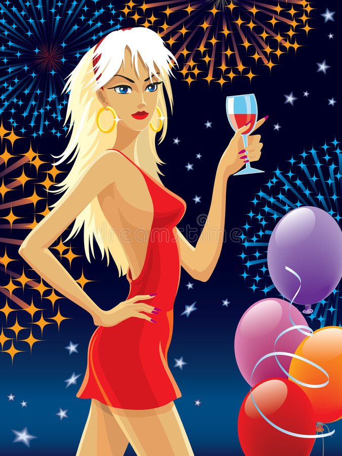 Party girl royalty free illustration