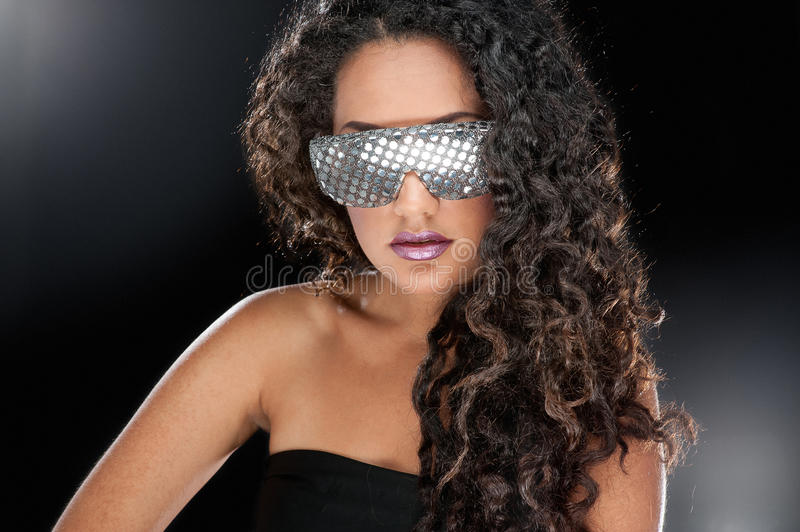 Party girl in club glasses stock photos