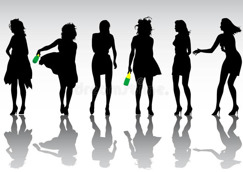 Download Party girl crowd stock vector. Image of adolescence, action - 10841653