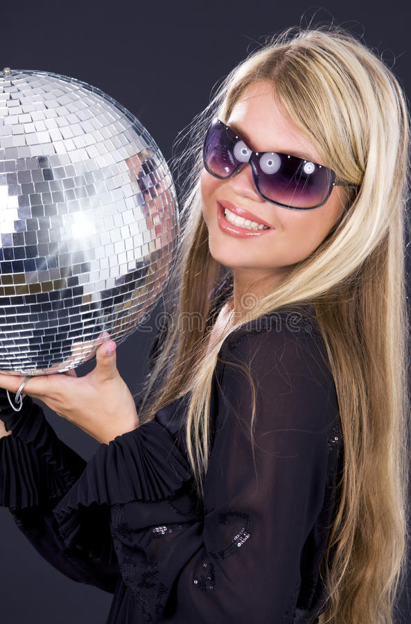 Download Party girl with disco ball stock photo. Image of carefree - 10283456