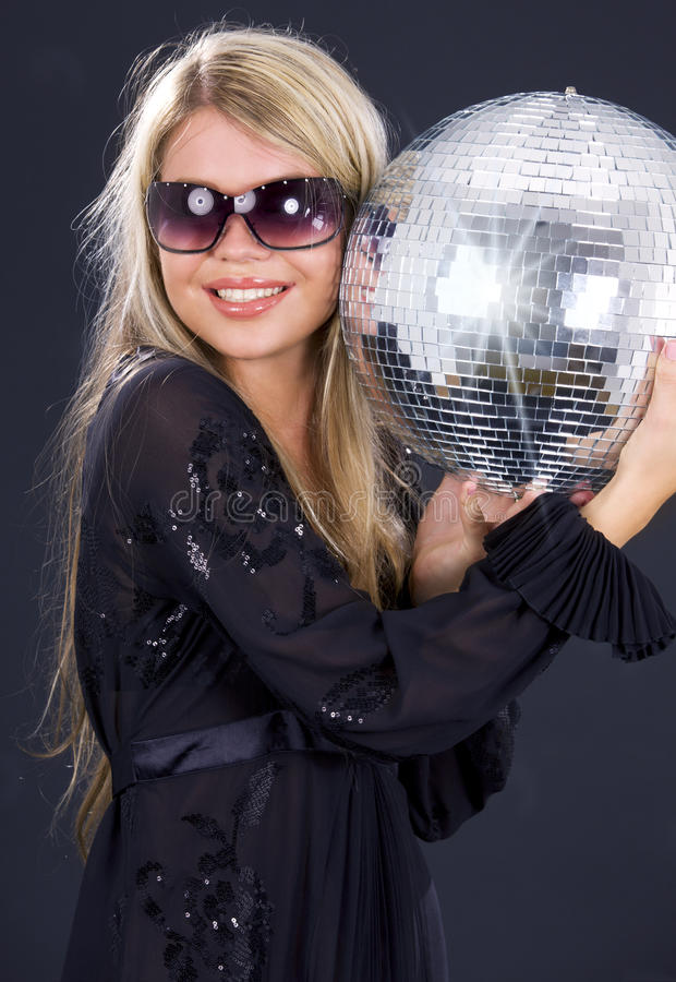 Download Party girl with disco ball stock image. Image of holding - 10487379
