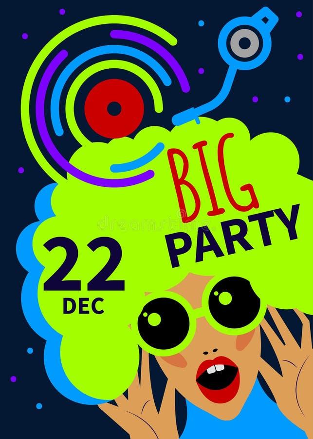 Party girl dos desenhos animados ilustração stock