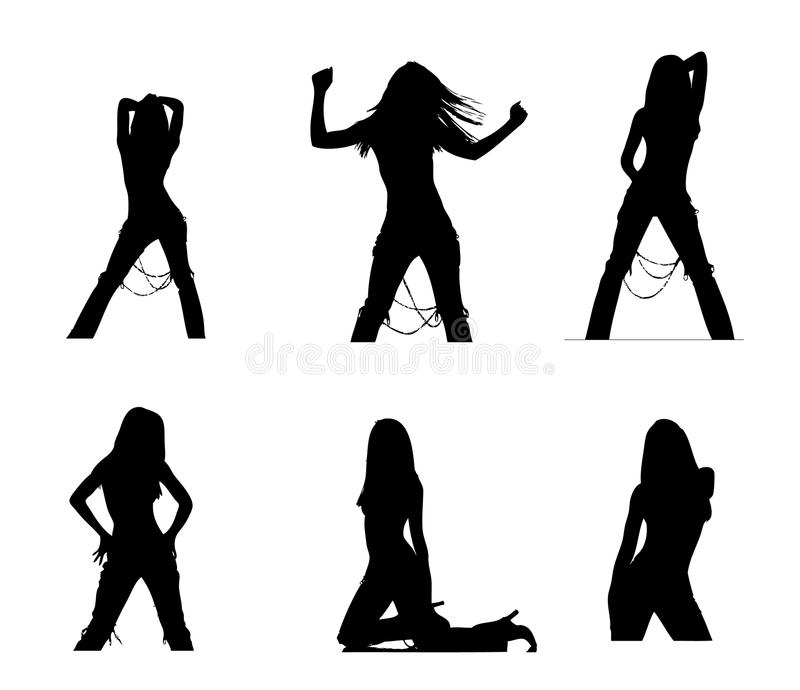 Party girl silhouettes. Six silhouettes of a woman isolated on white background stock illustration