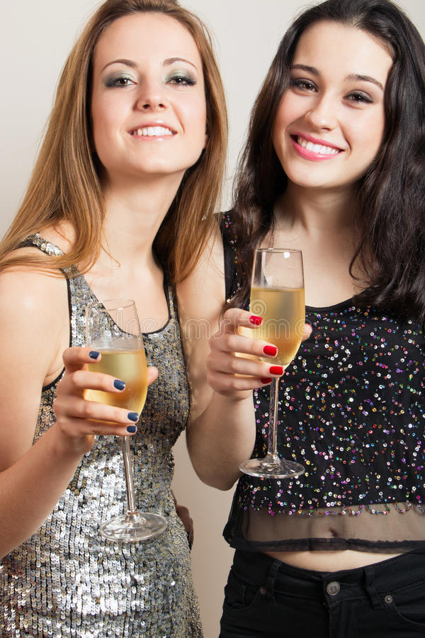 Party girls with champagne stock photography