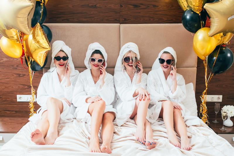 Party girls smartphone urban leisure lifestyle royalty free stock images