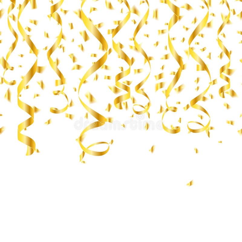 Free Party Golden Confetti Streamers Royalty Free Stock Images - 58460499