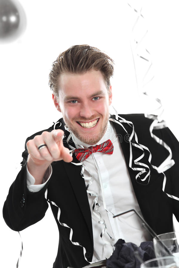 Download Party guy pointing at YOU stock photo. Image of drinking - 27690940