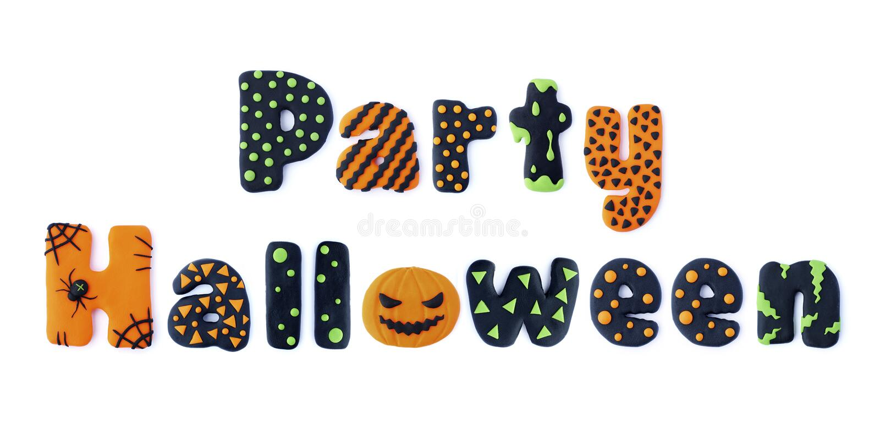 Party Halloween. Word letters Party Halloween handmade polymer clay plasticine Isolated postcard. Cute cartoon figures handmade handicraft for clay plastiline vector illustration