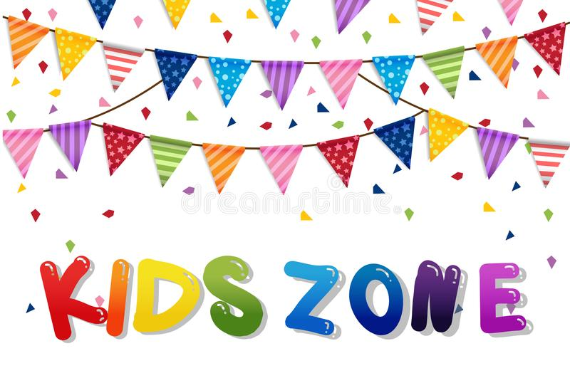 Party happy kids day and Birthday Flags Background royalty free illustration