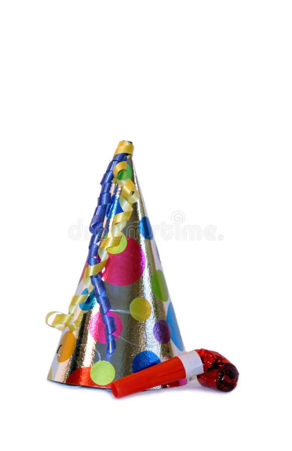Party Hat. Colorful party hat with streamers and a party favor stock photo