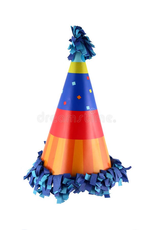 Party hat. Birthday party or New Year's Eve celebration hat royalty free stock image