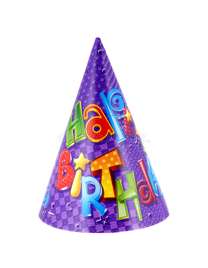 Party hat. That says happy birthday on it stock image