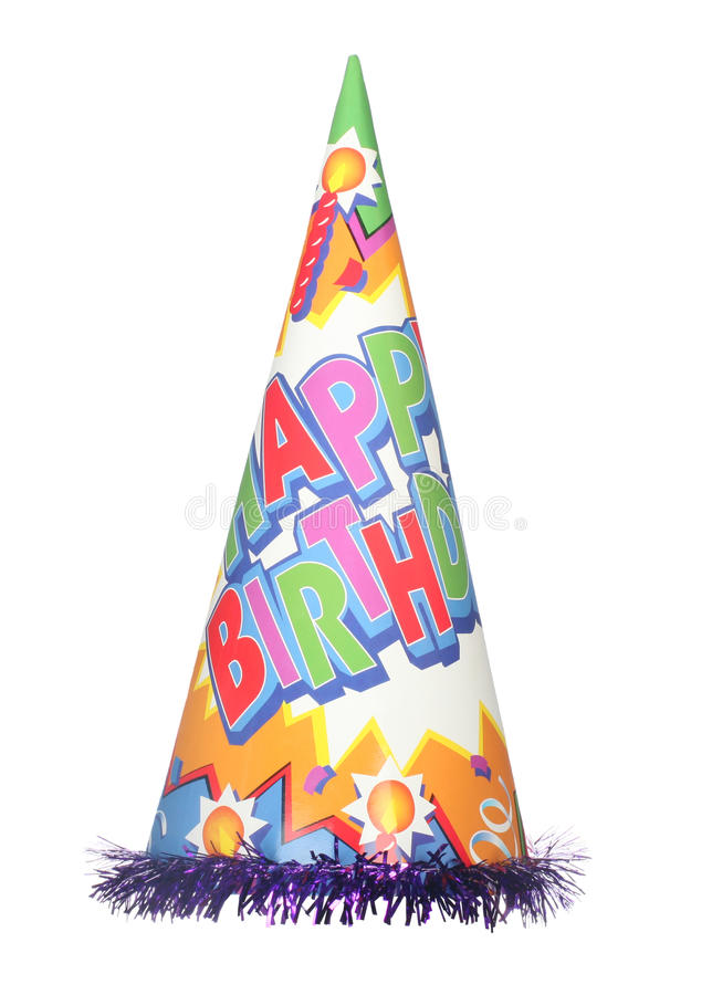 Party hat. Happy birthday party hat isolated on white background royalty free stock images