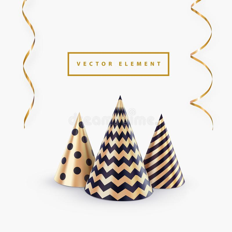 Party hat or abstract Christmas tree and streamers vector template for Christmas party banner or happy birthday greeting card. royalty free illustration