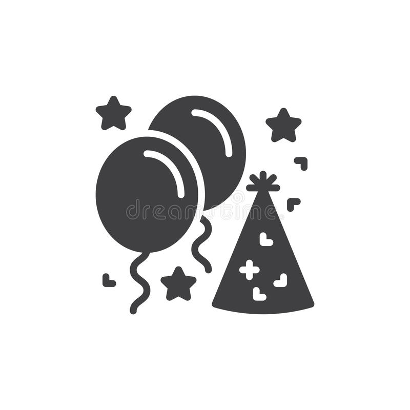 Party Hat And Festive Balloons Icon Vector Filled Flat Sign Solid