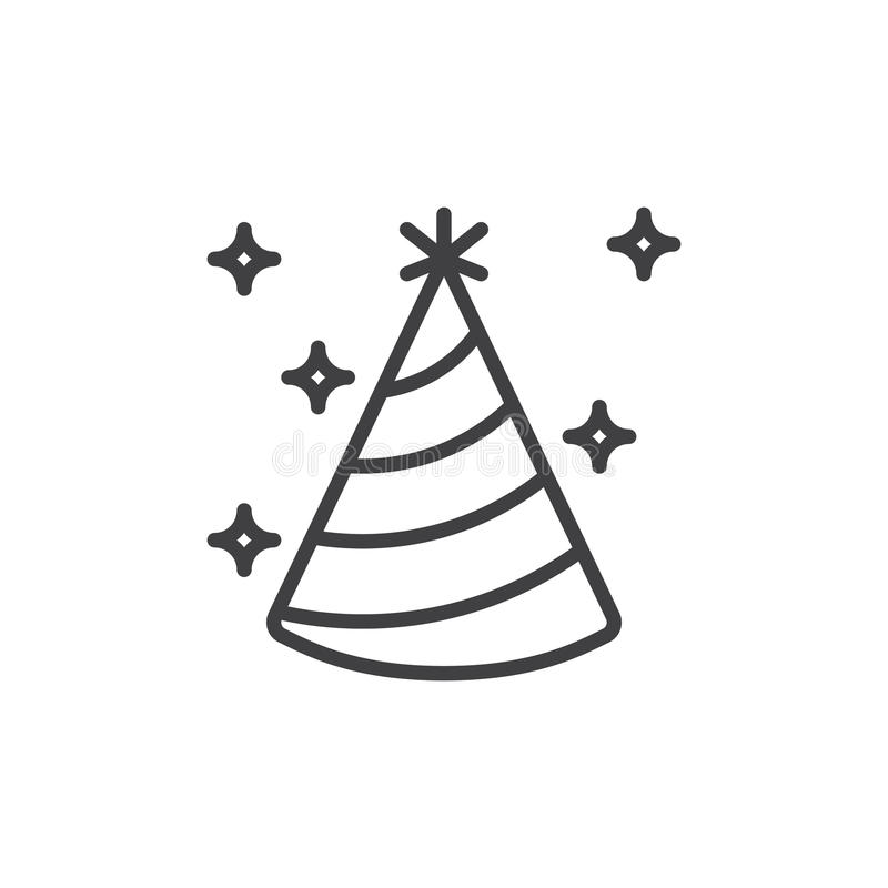 Party Hat Line Icon Outline Vector Sign Linear Style Pictogram