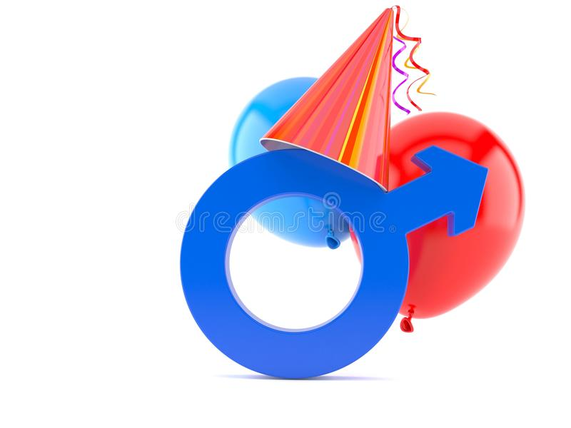 Party Hat With Male Gender Symbol Stock Illustration Illustration