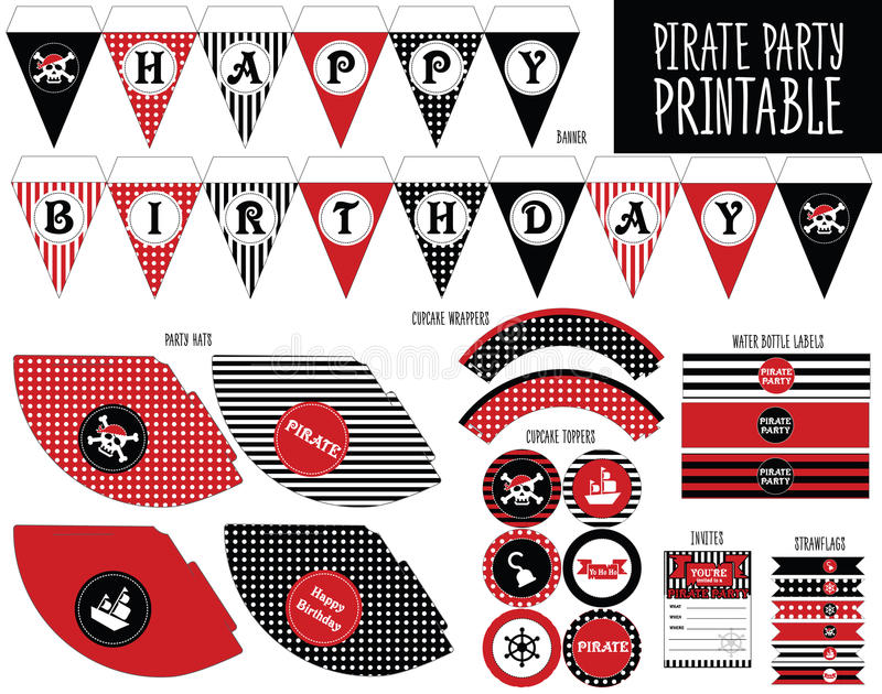 Party Hat Printable. Pirate Theme Party Stock Vector - Illustration ...