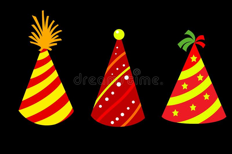 Party hat set isolated on white background. Illustration design. Happy, new, year, 2020, card, birthday, shape, cone, object, concept, colors, collection royalty free stock photos