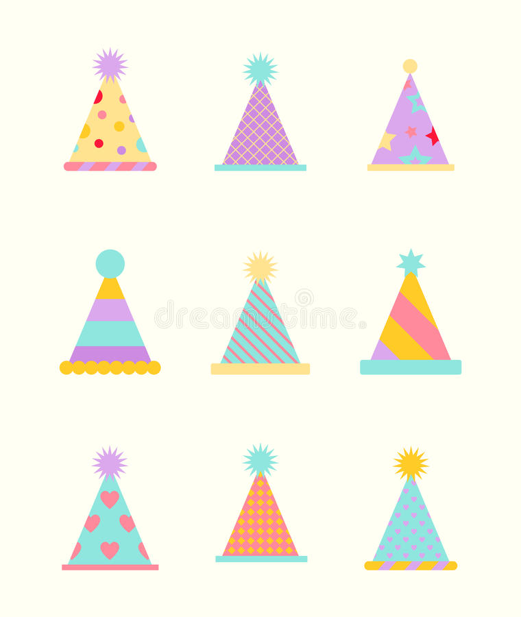 Party hat set on a white. royalty free illustration
