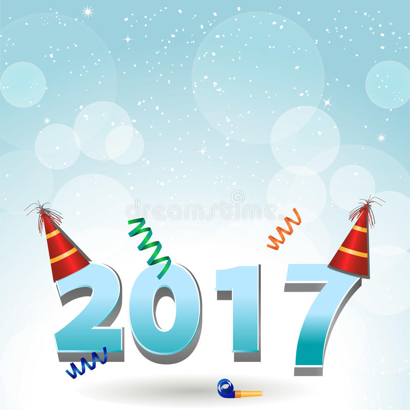 2017 party hats and confetti background vector illustration