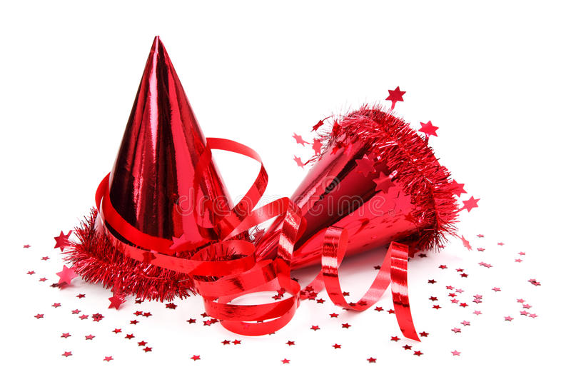 Party hats, paper streamer. Isolated on white background royalty free stock photo
