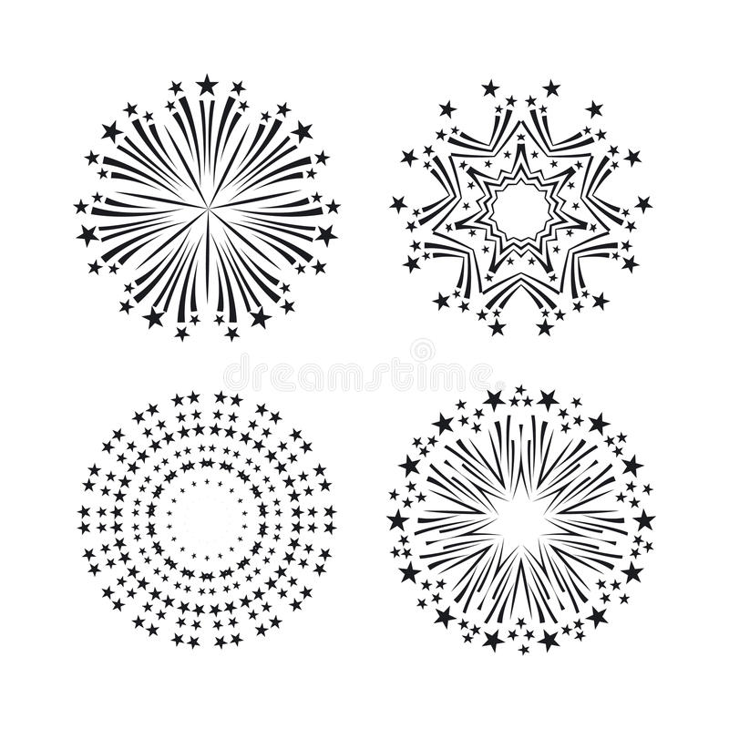 Party and holiday event firework icon flat set vector vector illustration