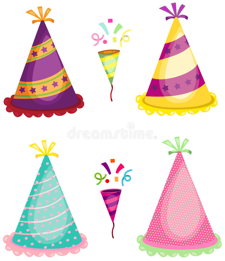 Party horn blower and colorful hats. Illustration of set of party horn blower and colorful hats stock illustration