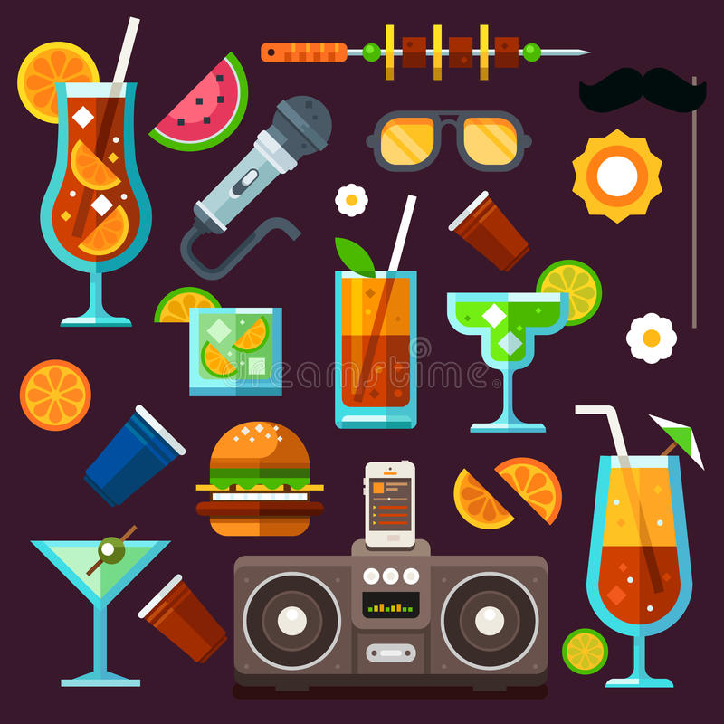 Party icon set, cocktails and celebrations. Party icon set, summer fun, cocktails and celebrations. Methods to relax: party, music, food, travel, entertainment vector illustration